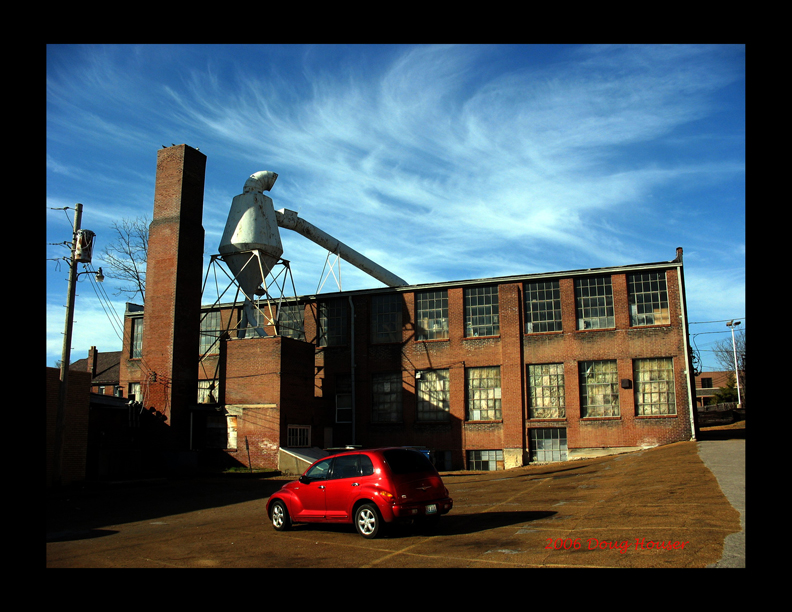 This is probably my favorite photo of the Maplewood Mill. It's a nicely composed scene.  The cyclone collector is a perfect modifier between the two rectangular forms of the mill and chimney.