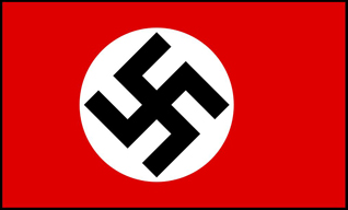 The flag of the Nazi party takes this once great symbol and rotates it a bit. It is now impossible to look at any of the older examples and not think of the unspeakable horrors perpetrated by the Nazis. The flag image is from Wikipedia.