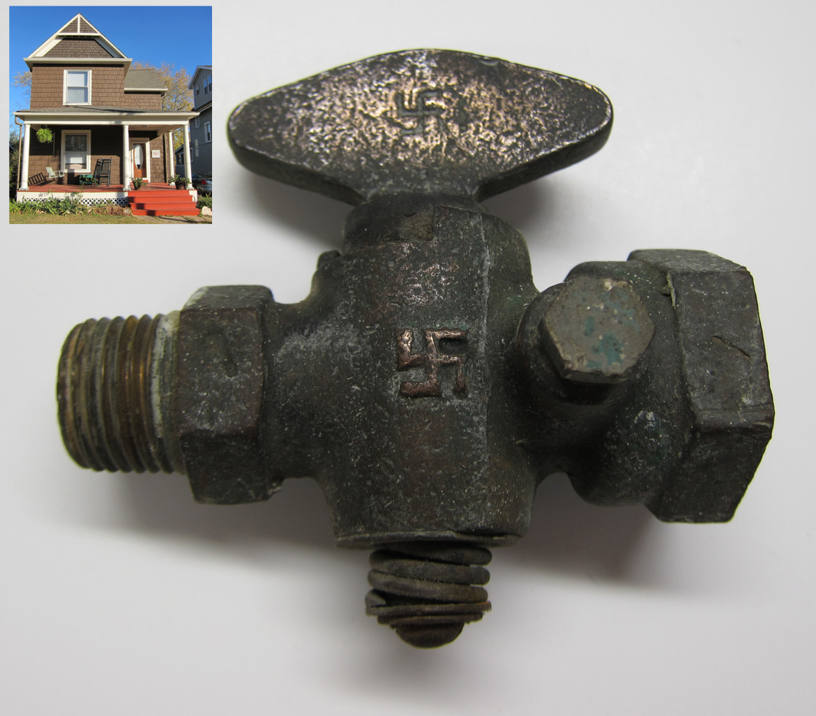 The original gas valve from 3134 Edgar in Maplewood. The county has a build date of 1890 on this home. I suspect this may not be accurate but I've been unable to find anything else on it. both the house and the valve are from the collection of the author.