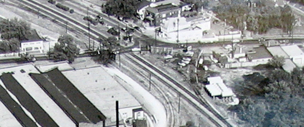 An aerial view of the intersection of Greenwood and Big Bend probably from the 1950's. Courtesy of Maplewood Public Library.