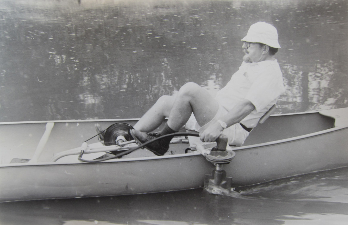 """Syl's brother, Al peddling Syl's invention, """"The Sylvester Peddler"""" in 1975."""