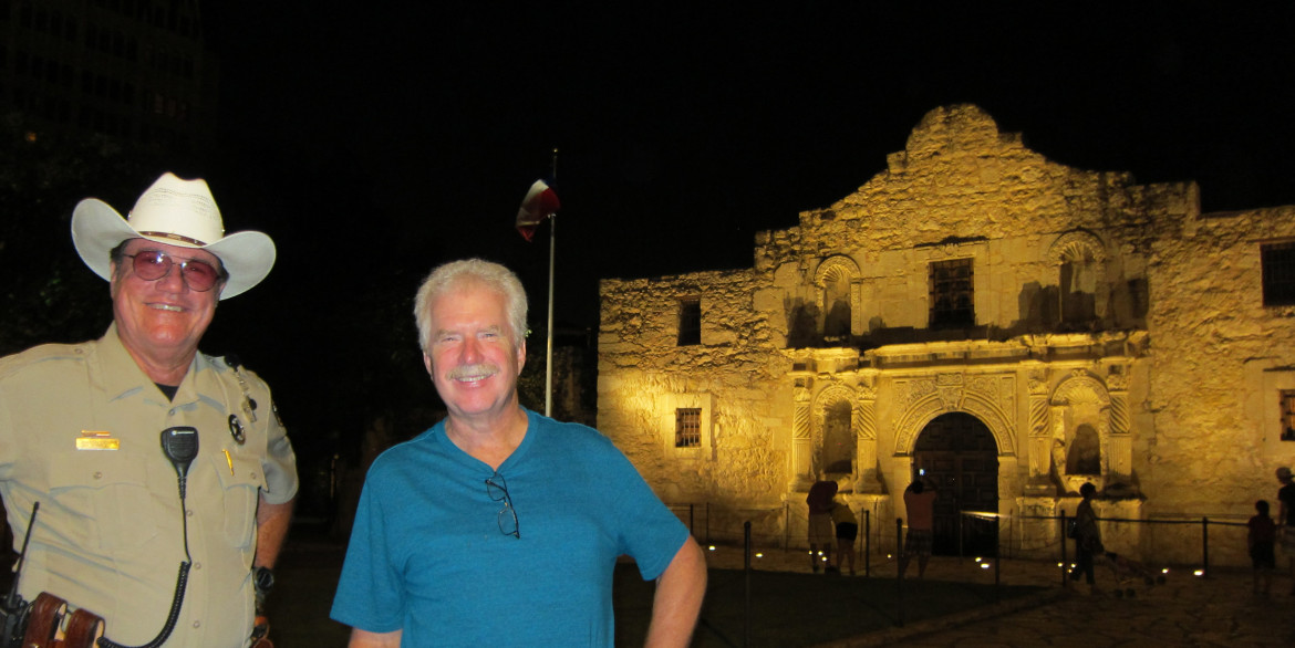 My brother Brian with the Texas alamo Ranger, Steve whose last name I neglected to get.  Steve was so knowledgeable and friendly that we went back the following night to talk with him some more.  He told us of the plans to greatly improve the Alamo site by removing all of the pavement and possibly even the memorial cenotaph in front of the Alamo, performing the necessary archaeology and even reconstructing some of the buildings that once existed on the site including the small building where Jim Bowie is thought to have died.
