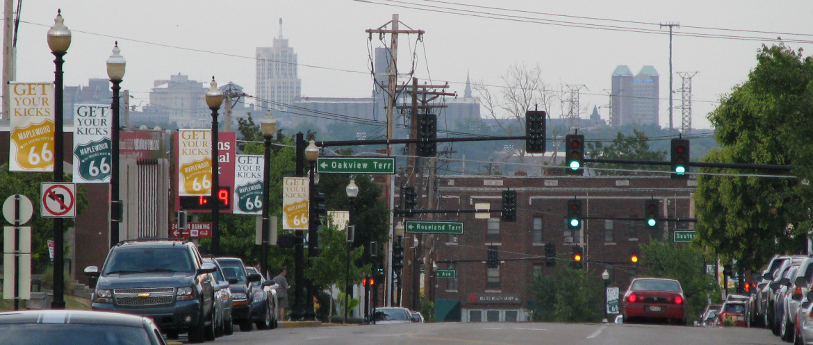 This image I took with a telephoto lens in 2010 standing just west of the Tiffany Diner. the Maplewood Theater building is just past the large brick building in the center. I thought this image interesting because I had never noticed how much of a grade change existed in our business district.