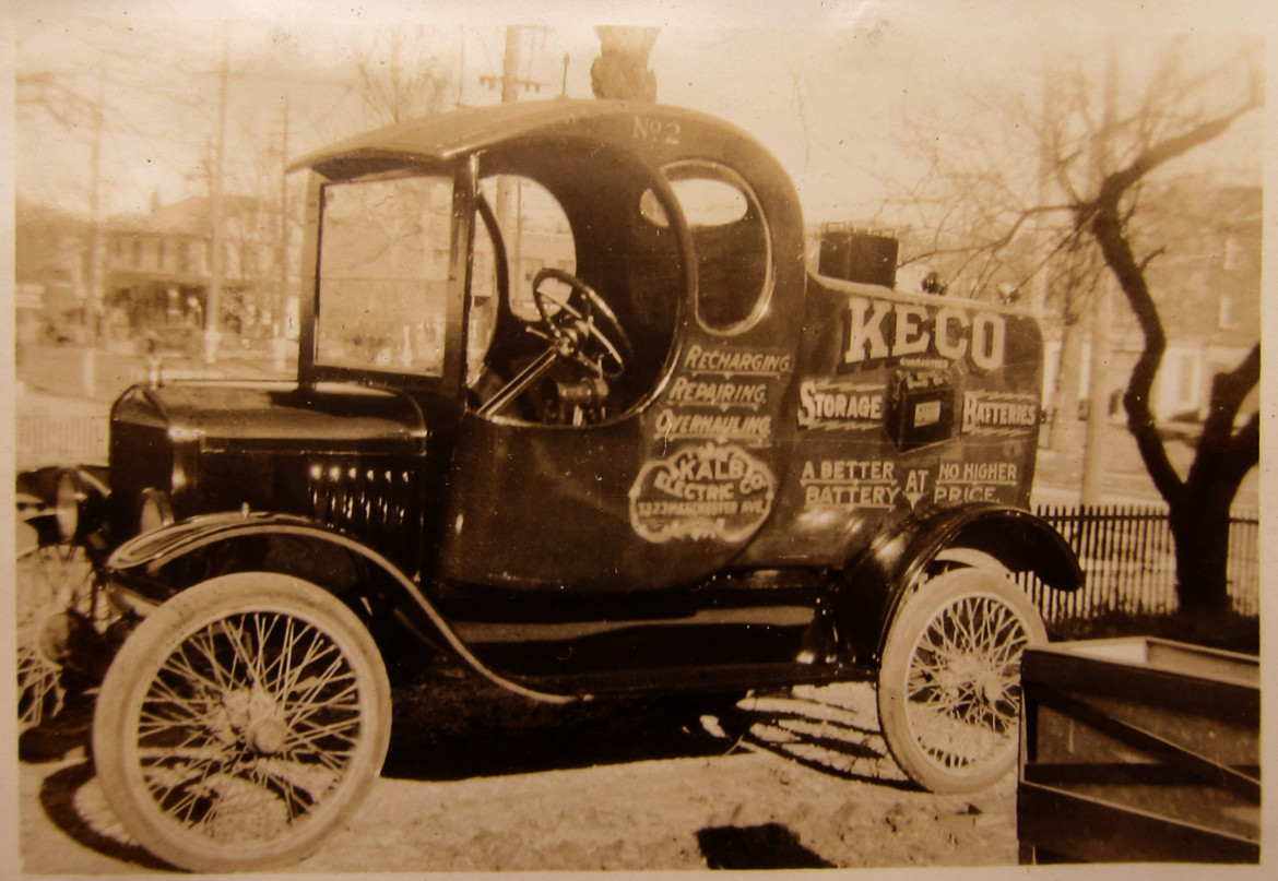 This photo is very interesting and scarce. Not only does it record this great little truck some of early Maplewood can be seen in the background. this view is from ellis ave and Big Bend looking NE. Behind the tree on the right is the Masonic Temple. Behing the steering wheel is the second building to contain the City Hall, Library and Fire Department. and just in front of the windshield is a building that must have once been on the NE corner of big Bend and Manchester that I have never seen another photo of.