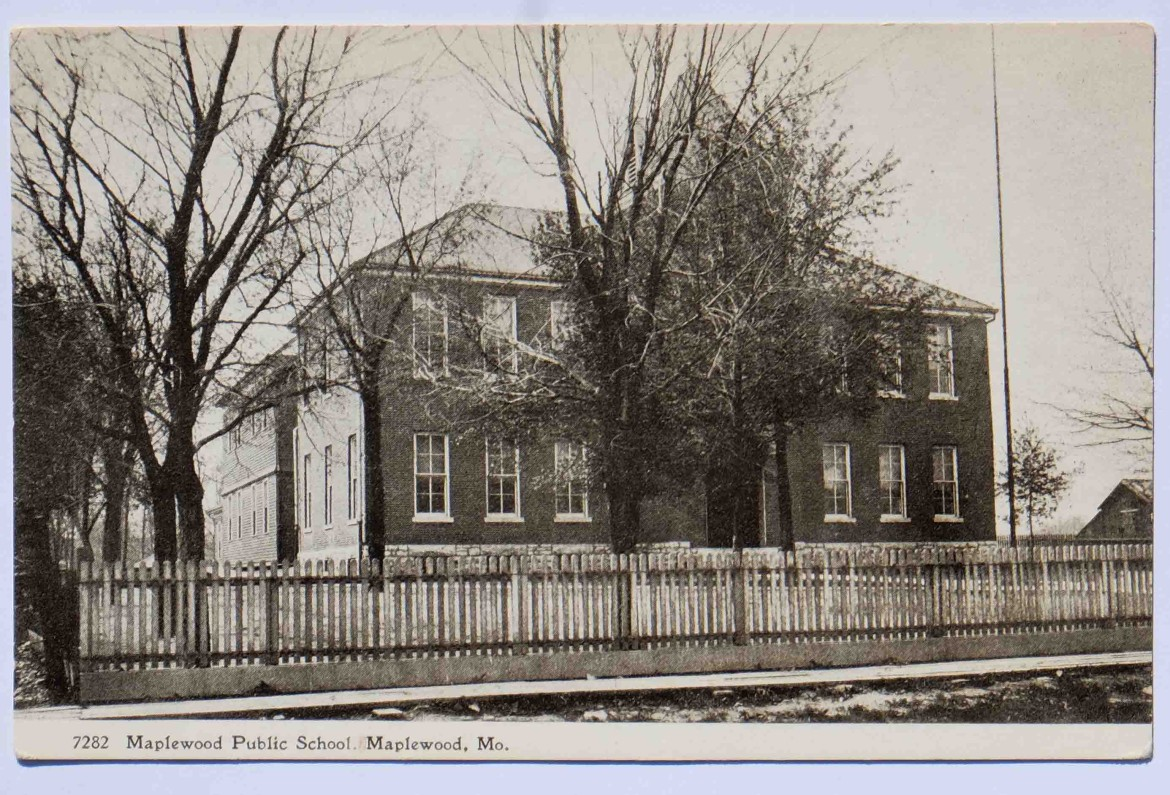 The Maplewood School once located directly across from the present Maplewood City Hall on Manchester. The number is a stock number. The original is a gift of the Ratkowski-Houser Foundation to the Maplewood Public Library.