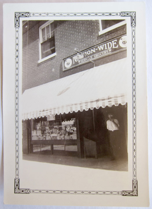 A good shot of the front of O'Brien's Nationwide Grocery. This type of border was popular in the 1930's.