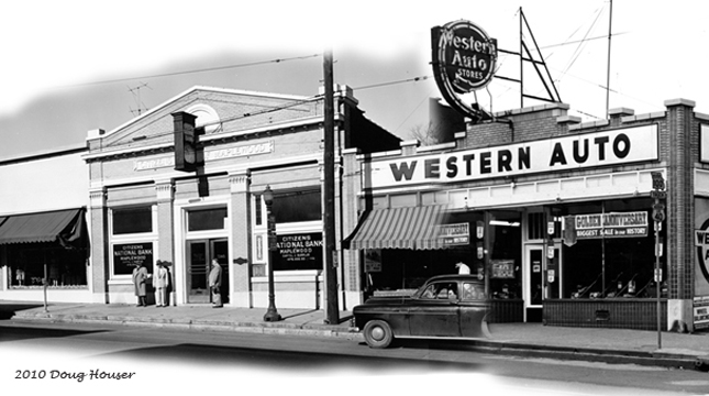 On the NW corner of Oakland Terrace and Manchester, the original Citizen's Bank building had a fabulous clock. The Western Auto sign is also terrific. Courtesy of the Maplewood Public Library.