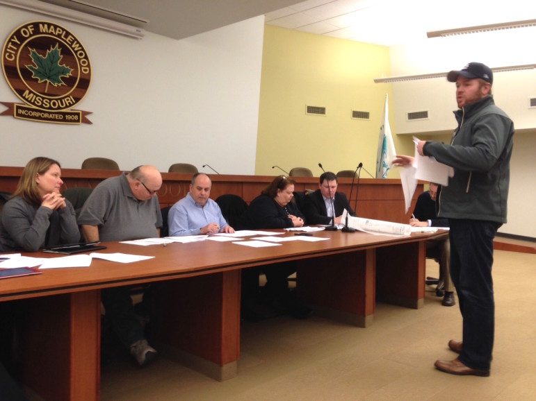 Cory King explains his new brewery to the Maplewood Plan and Zoning commission.
