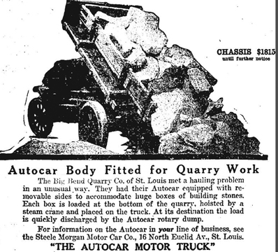 So how did the stone get from the quarry to the building site. Here is one way. Same way it does now - trucks. This advertisement is from the Post-dispatch archives, August the 29, 1917. Sometime earlier the stone would have been transported with hoses or mules and wagons.