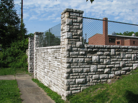 These very attractive stone columns, walls and steps are on the western side of the ECC property.