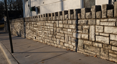 The remaining photos document a remarkable event that occurred at Lohmeyer and Bredell. this beautiful, crennellated stone wall had a twin on the south side of the intersection.