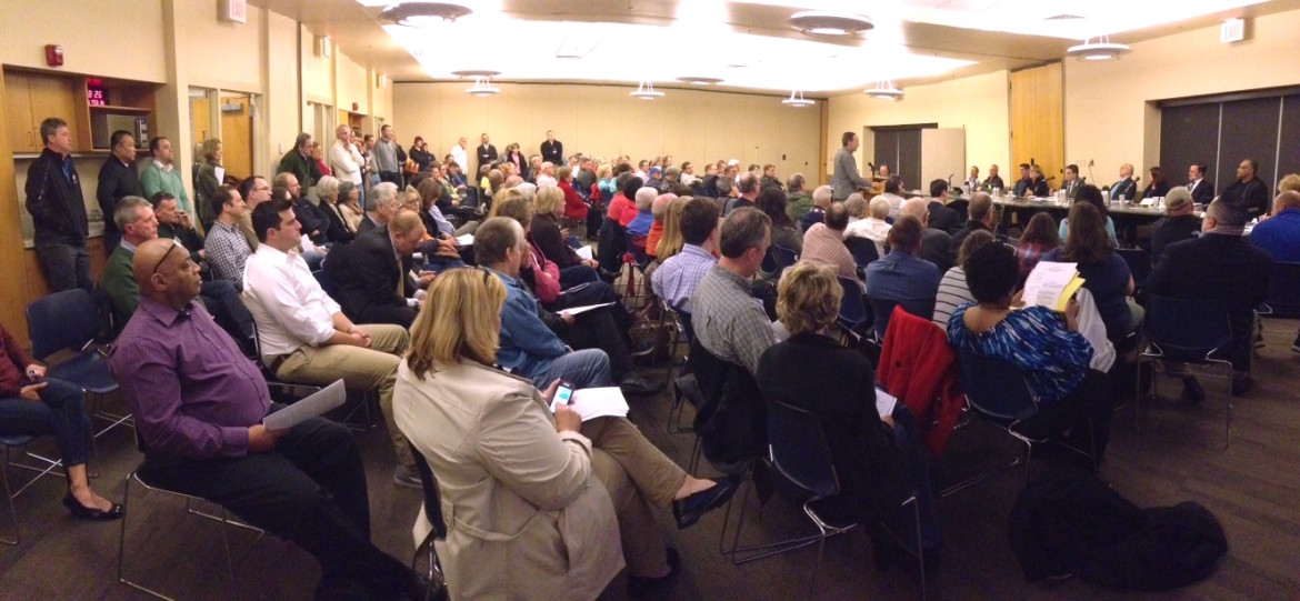 Approximately 100 residents came to the council meeting.