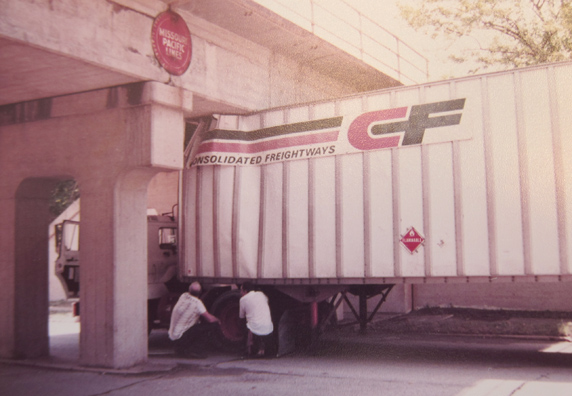 Here is the underpass we have today a little the worse for wear. This udated photo was taken on an unforgettable day for the poor driver. courtesy of Wanda Kennedy Kuntz.