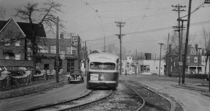 This photo was clearly taken at the same time as the one prior but it came from Dan Walper at Citizen's bnational Bank who very generously allowed me to copy all of their historic photos. Here the wall can clearly be seen bordering Ted's parking lot. I have no dates on these last two photos. the streetcars stopped running on this line in 1949. They're earlier than that is all I can say. I have a couple more posts of stonework coming so be patient if you haven't seen your favorite yet.