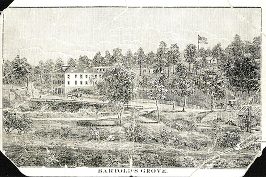 this drawing on a postcard is the earliest known image of the Grove. Courtesy of the Maplewood Public Library.