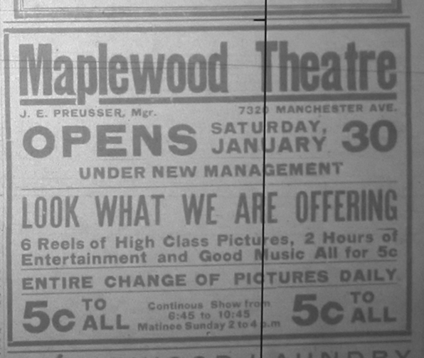 Advertisement announcing the reopening after a stint as the Maplewood Lyric Theater. From the 1915 News-Champion.