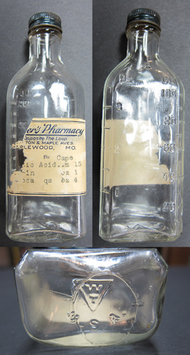 Three views of the same bottle. Courtesy of the Maplewood Public Library.