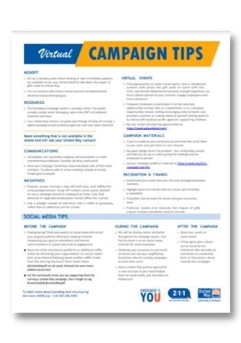 UWDE Virtual Campaign Tips Sheet Download