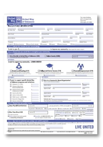 2021 United Way of Delaware Campaign Pledge Form