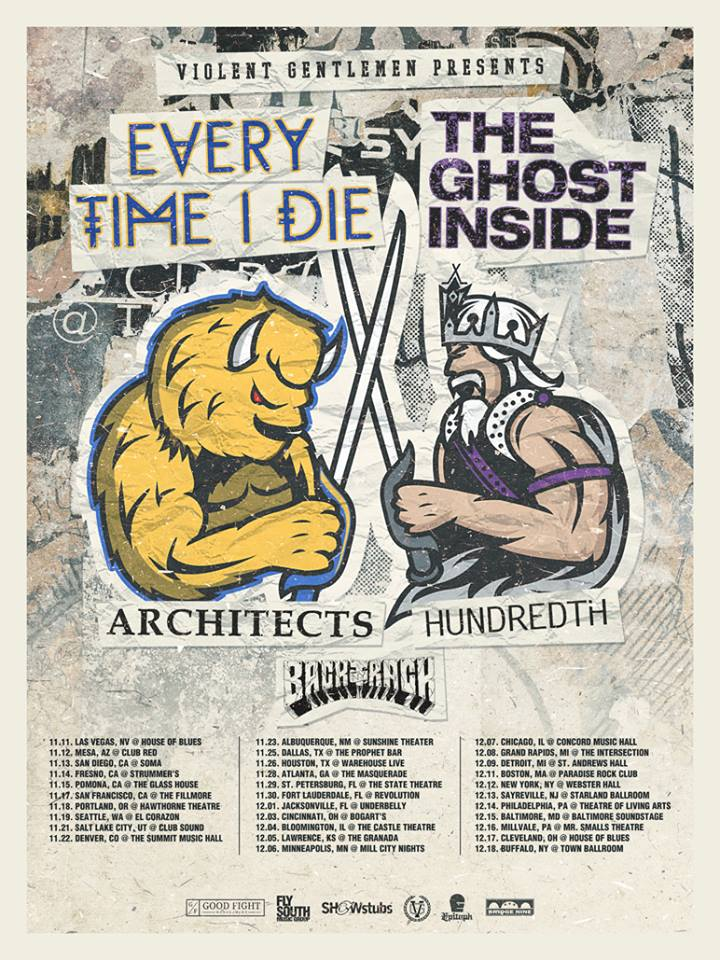 Every Time I Die and The Ghost Inside Tour 2014 - poster