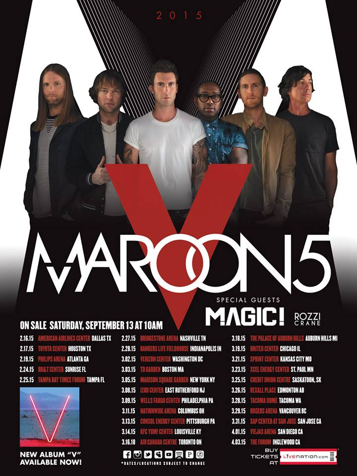 Maroon 5 World Tour 2015 - poster