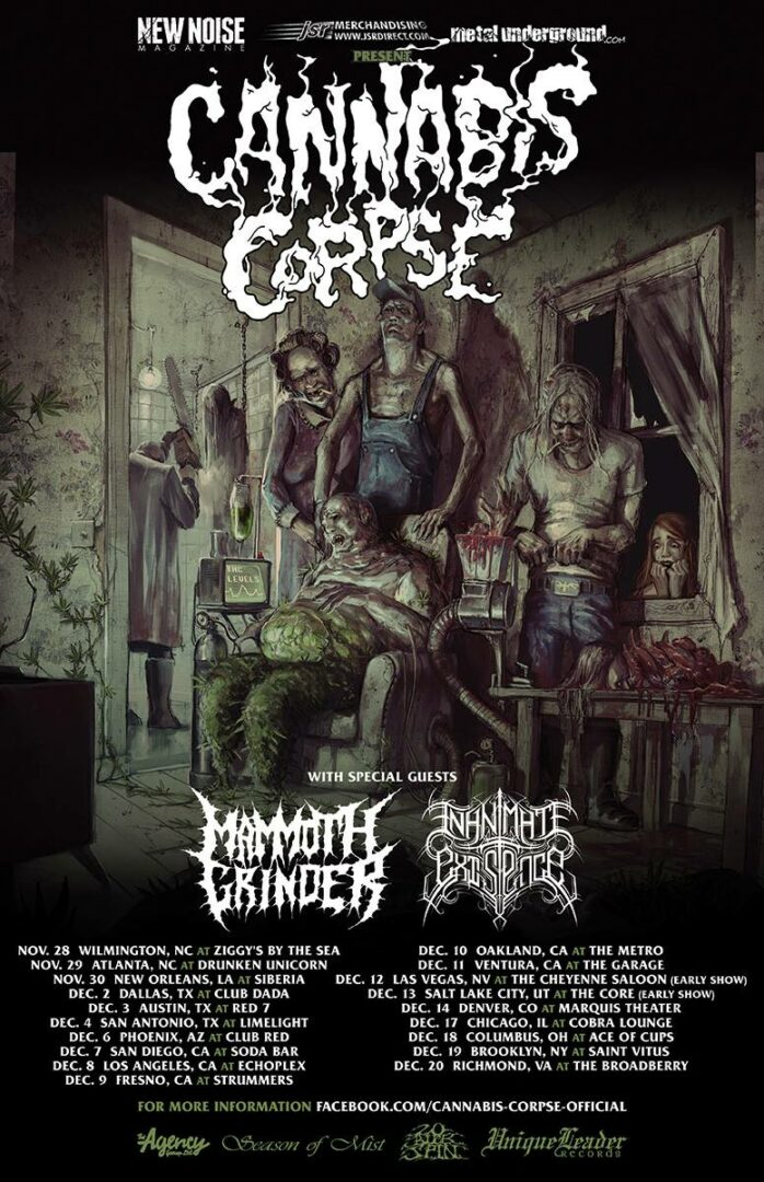 Cannabis Corpse Winter 2014 Tour-poster