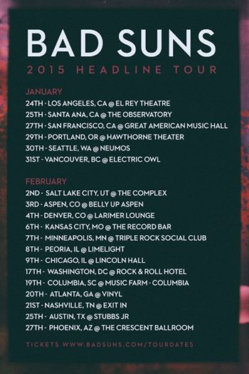 Bad Suns - Winter Headlining North American Tour - poster