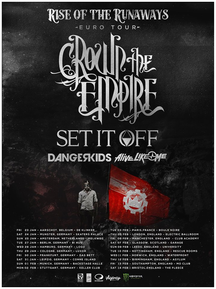 Crown The Empire - Rise Of The Runaways Euro Tour - poster