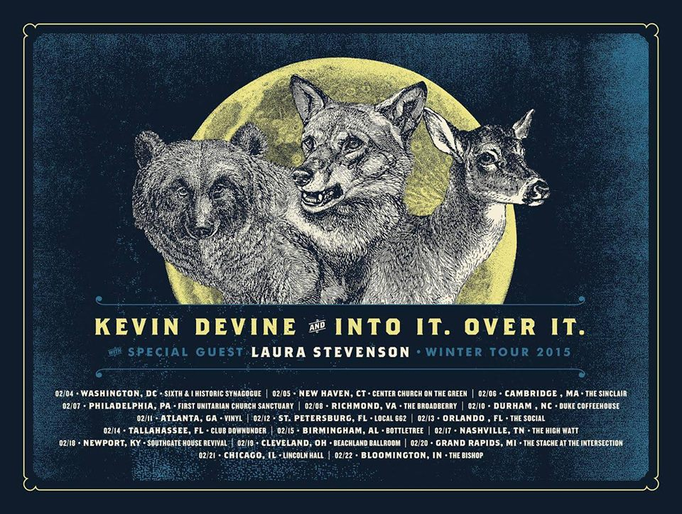 Kevin Devine - Into It Over It - Winter 2015 Tour - poster
