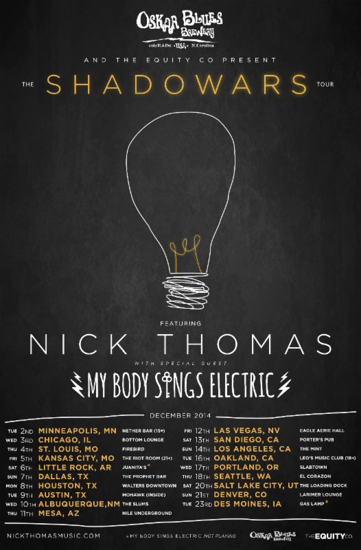 Nick Thomas - The Shadowars Tour - poster