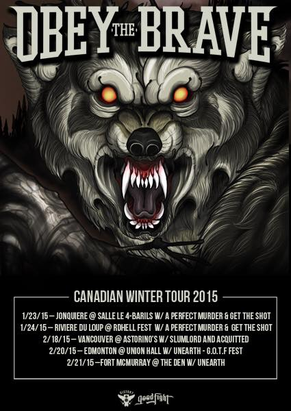 Obey The Brave - Canadian Winter 2015 Tour - poster