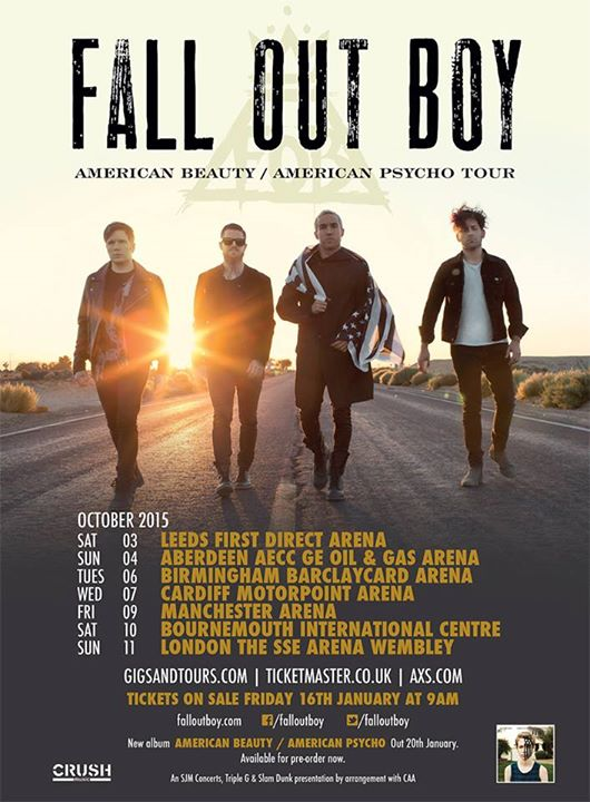 Fall Out Boy - American Beauty,American Psycho UK Tour - poster