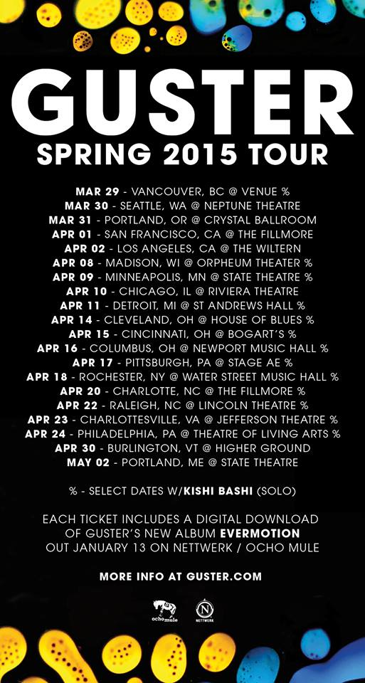 Guster - North American Spring 2015 Tour - poster