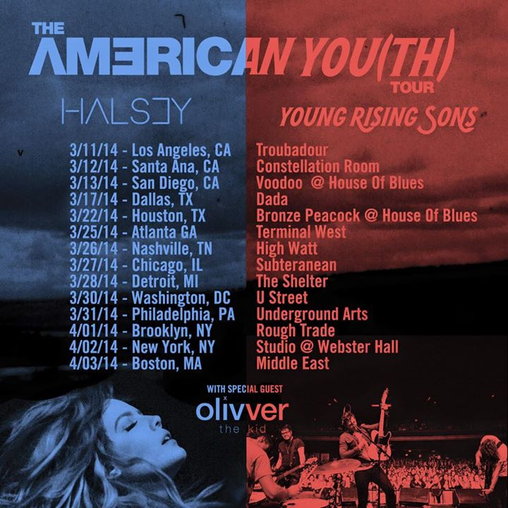 Halsey - American You(th) Tour With Young Rising Sons - poster