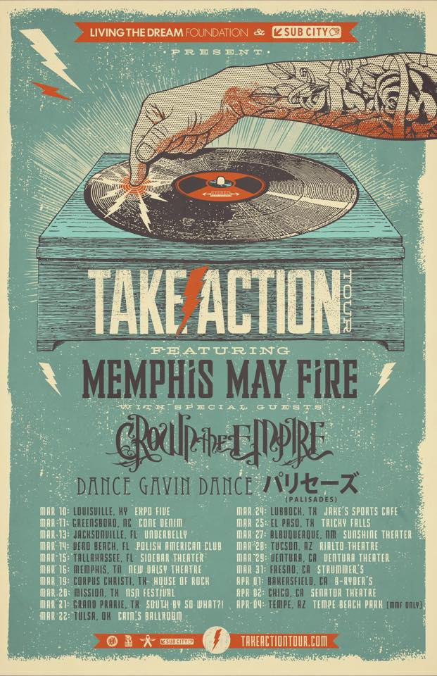 Memphis May Fire - Take Action Tour 2015 - poster