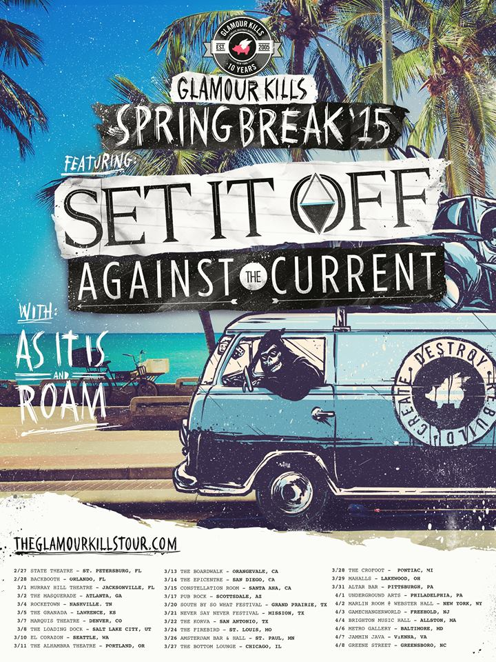 Set It Off - Glamour Kills Spring Break Tour - poster