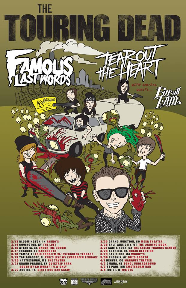 Famous Last Words - The Touring Dead With Tear Out The Heart - poster