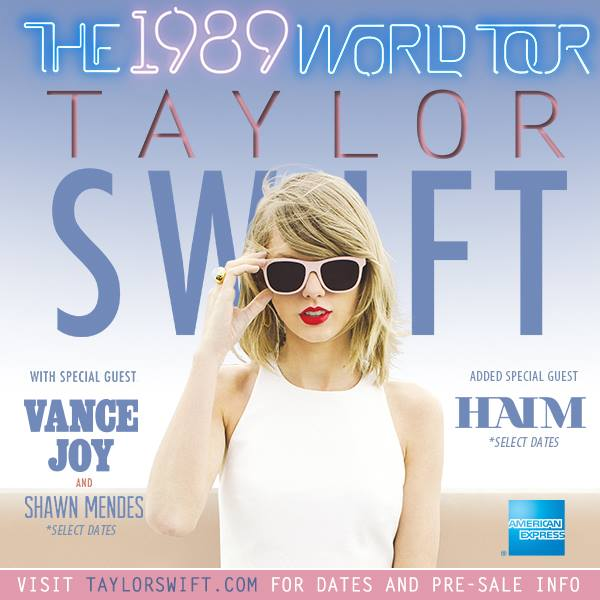 Taylor Swift - The 1989 Wolrd Tour With Support - poster