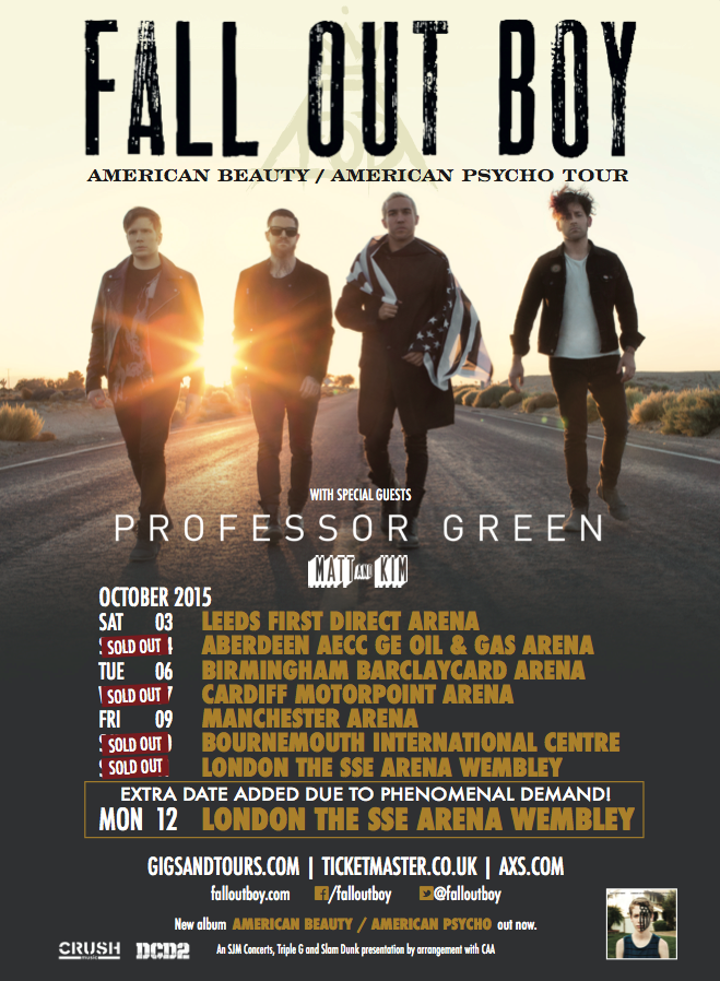 Fall Out Boy - American Beauty,American Psycho UK Tour 2 - poster