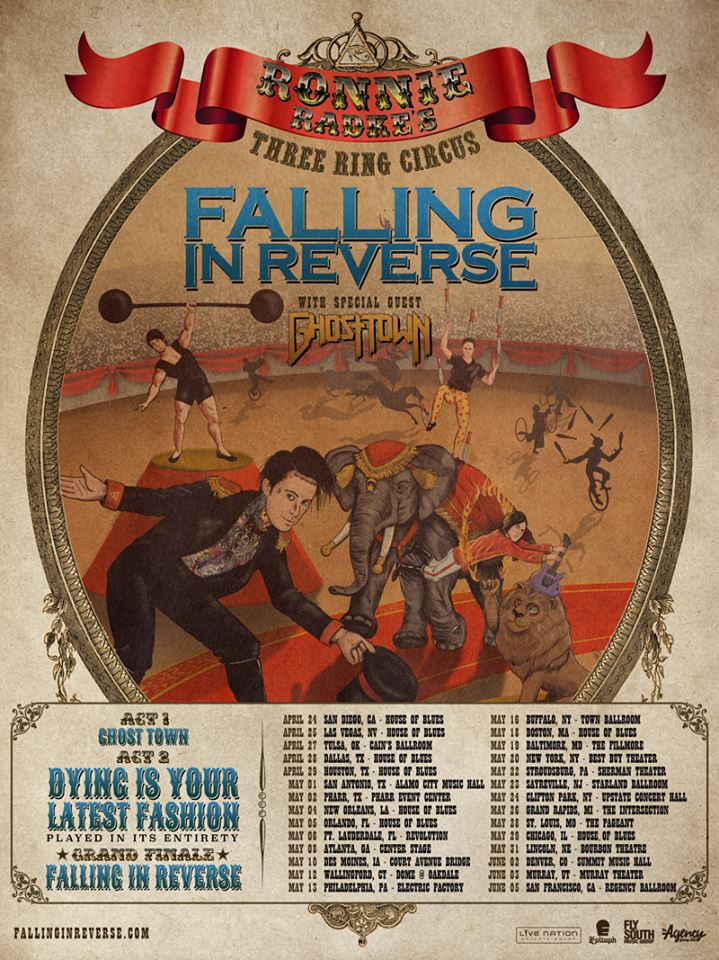 Falling In Reverse - Ronnie Radke's Three Ring Circus - poster