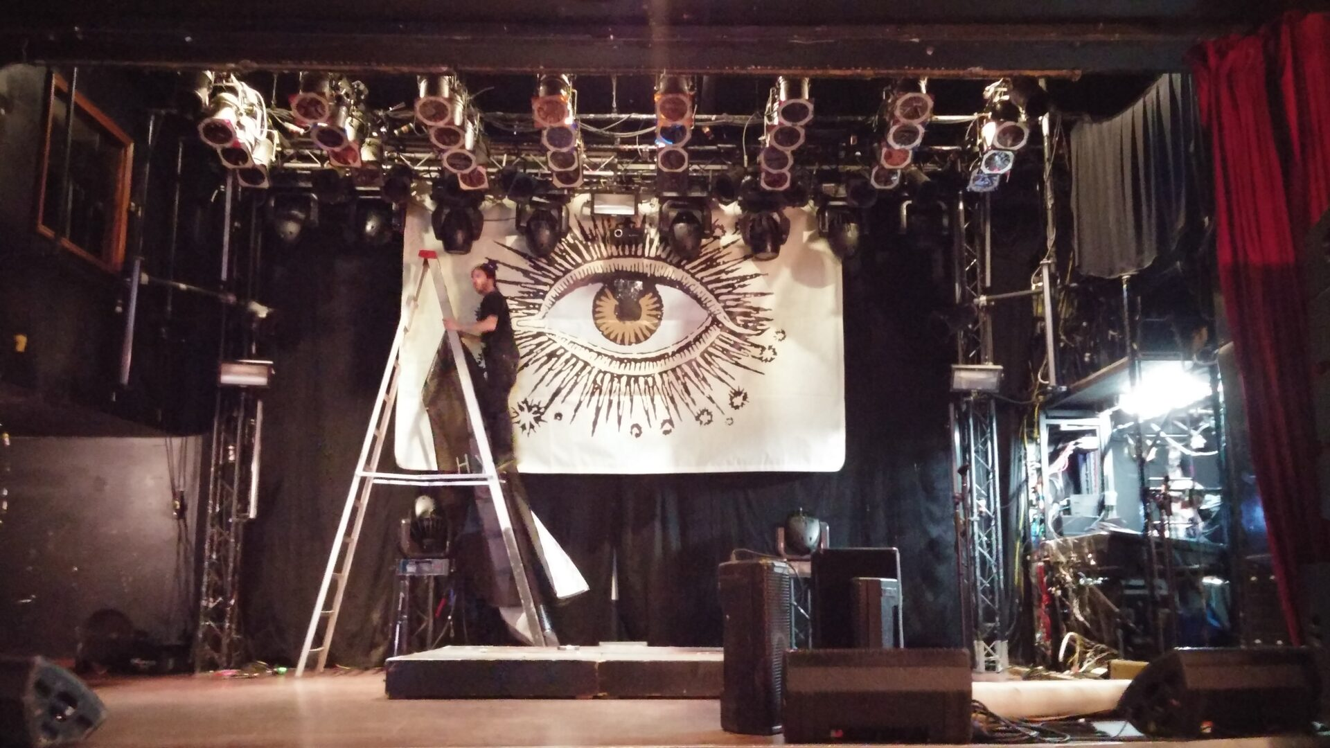 Getting set up for the show in Toronto. We had that eye looking at us every show.