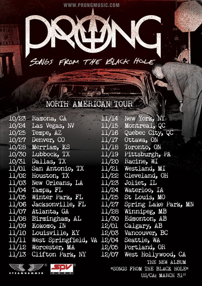 PRONG - North American Tour 2015 - poster