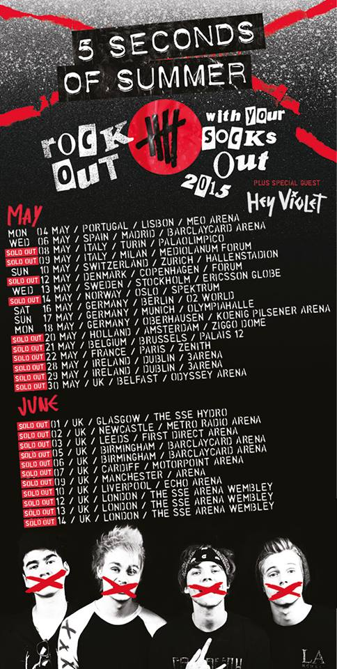 5 Seconds Of Summer - Rock Out With Your Socks Out UK and Europe Tour - poster