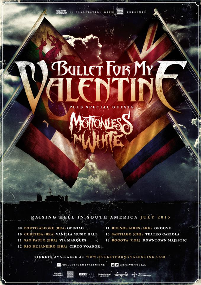 Bullet For My Valentine - Raising Hell In South America Tour - poster