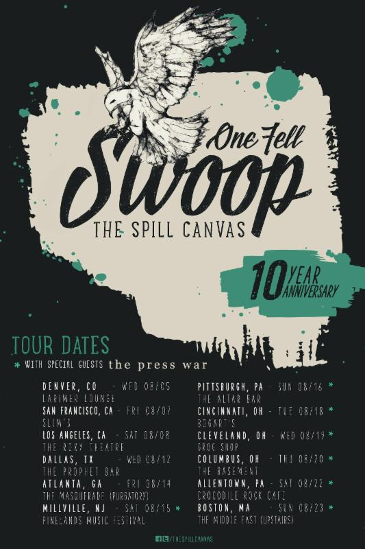 The Spill Canvas - One Fell Swoop 10 Year Anniversary Tour - poster