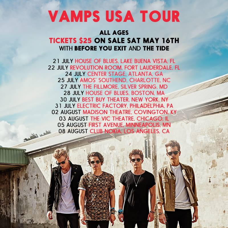 The Vamps - Summer U.S. Tour 2015 - poster