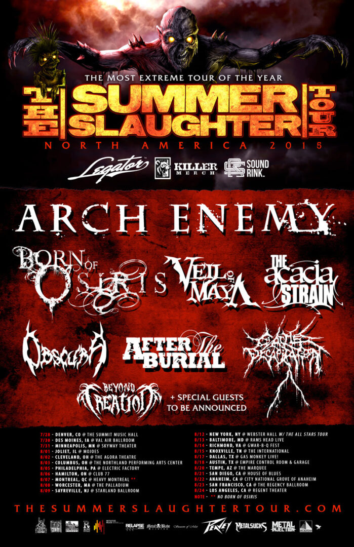 Arch Enemy - Summer Slaughter North American Tour 2015 - poster