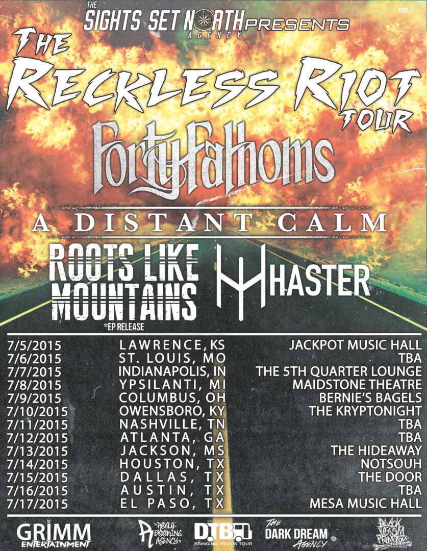 Forty Fathoms - The Reckless Riot Tour - poster