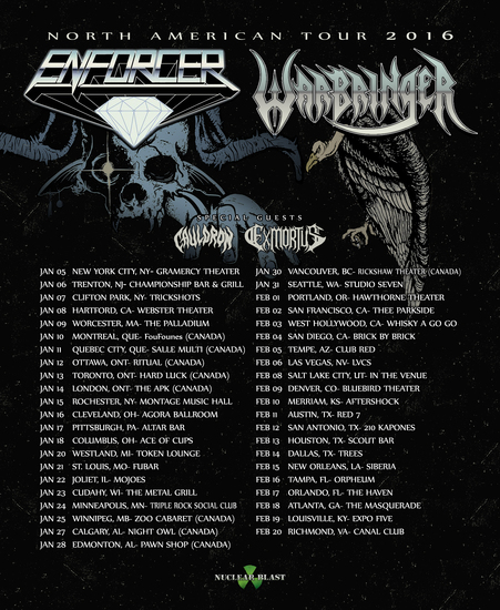 Warbringer - co-headline tour with Enforcer - poster