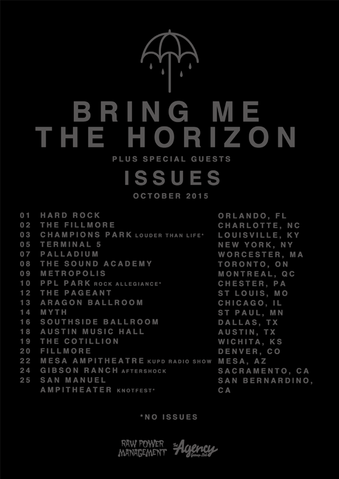 Bring Me The Horizon - North American October Tour 2015 - poster